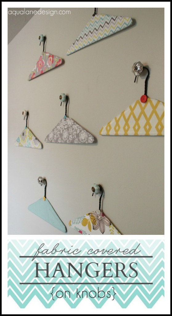fabric covered hangers on knobs