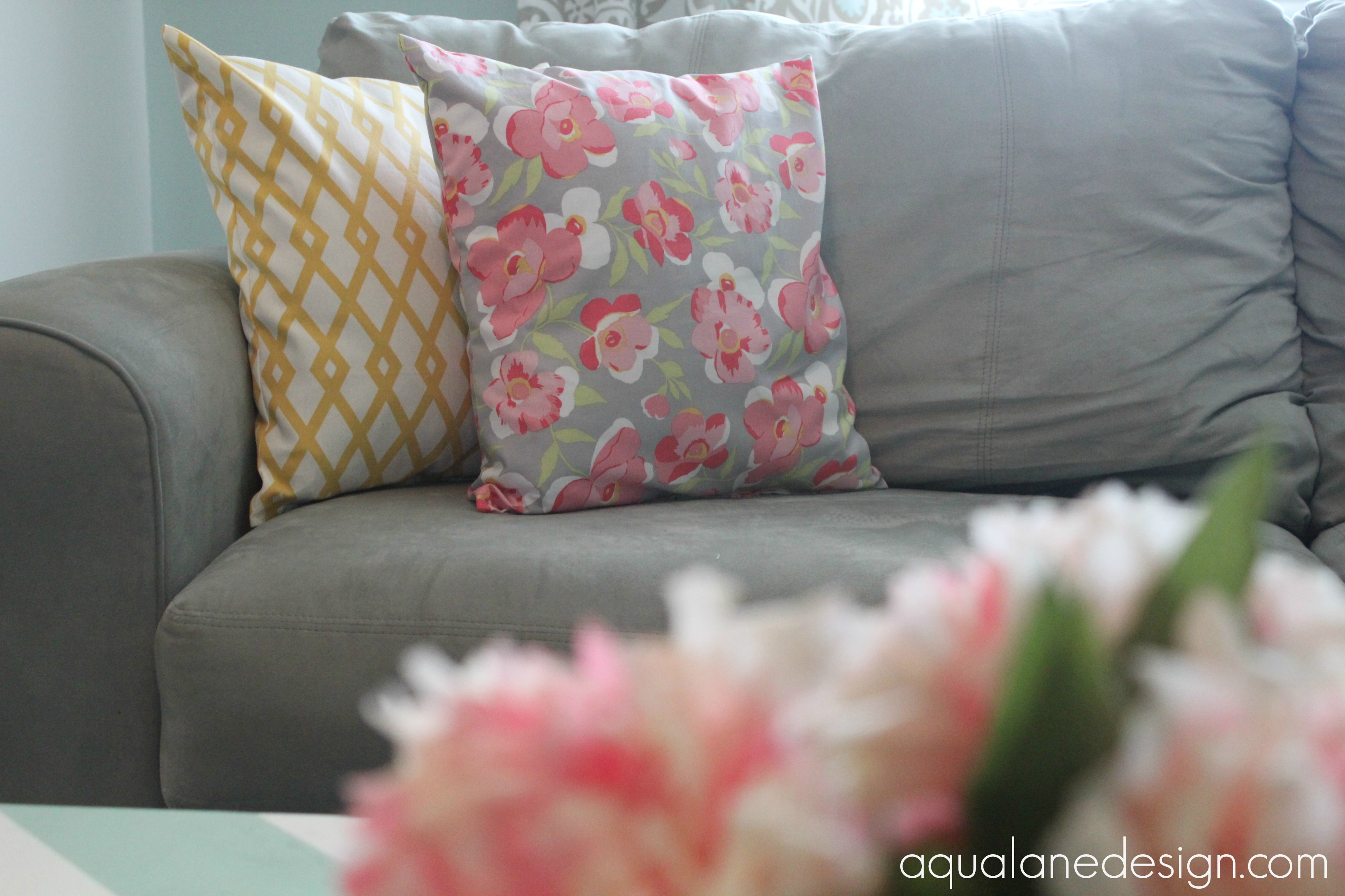 flowers and pillows