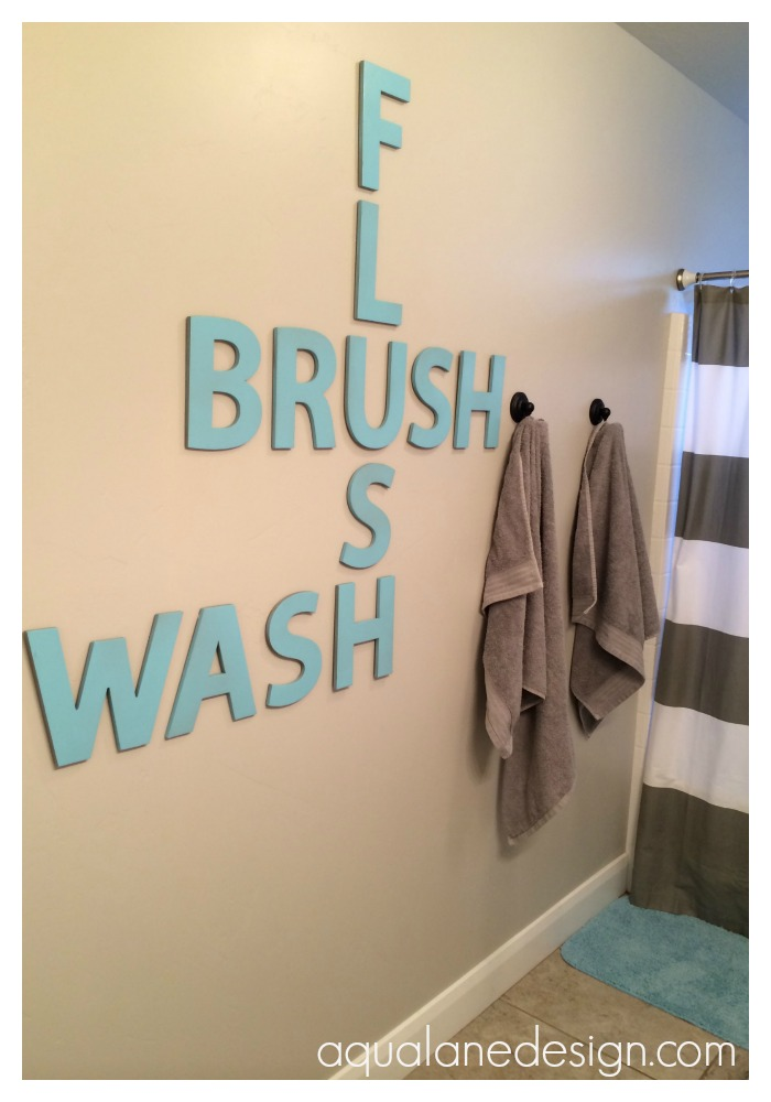 Fun Guest Bathroom Ideas : Bathroom crossword art aqua lane design